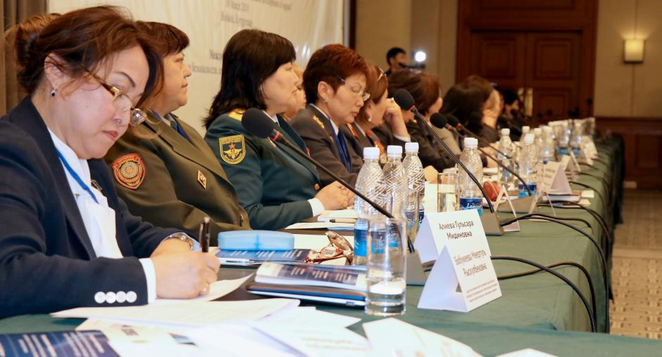 "Participants during the conference ""The Role of Women from the Sectors of Security, Law and Order in the Sustainable Development of Regions"", Bishkek, 30 March 2018. (OSCE/Nazgul Bazarbayeva)"