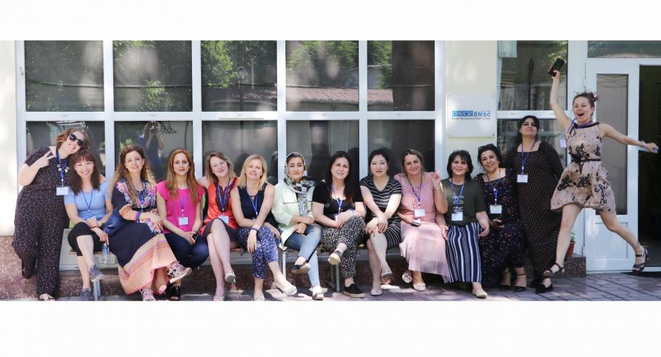 Participants of the '6th Staff Course for Women Leaders', Dushanbe, 13 ‎June ‎2019. (OSCE/Parisa Sheralieva)