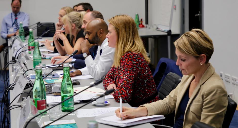 Police and OSCE experts discuss the role of gender in P/CVERLT in Vienna on 2 October 2019. (OSCE/Aleksandra Klosinska)
